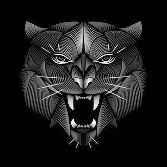 Тигровый дизайн. линогравюра стиль.
