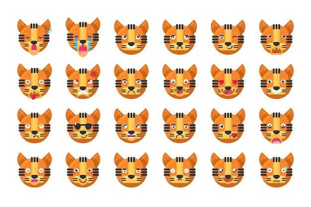 タイガー絵文字異なる気分コレクションセットベクトル。クールなジャングルキャットの動物は、歯とかわいい目で笑ったり笑ったり、悲しくて怒ったり、寝たりキスしたりします。コミック絵文字フラット漫画イラスト