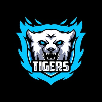 Шаблон дизайна логотипа tiger esport