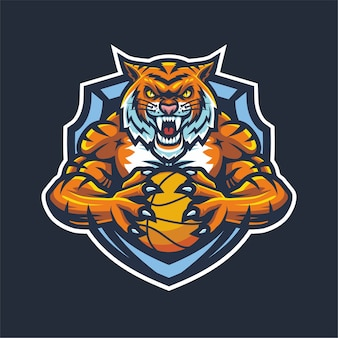 Tiger esport logo mascot for basketball