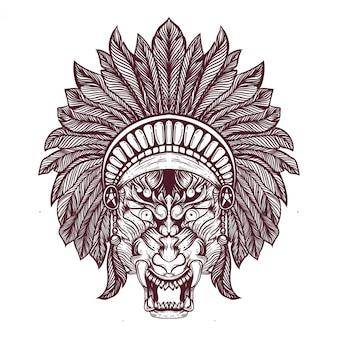 호랑이 얼굴 민족 모자 그림