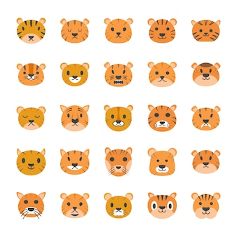 Tiger face flat icons