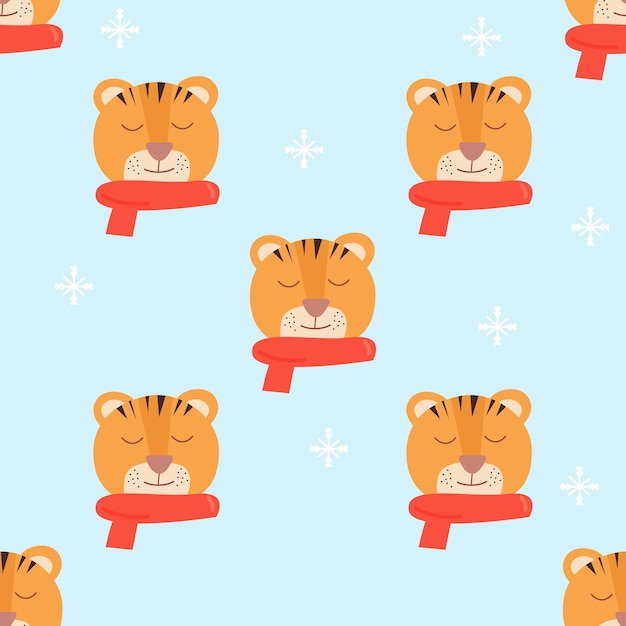 赤いスカーフと虎の顔青い雪の結晶の背景シームレスなパターンベクトル漫画イラスト