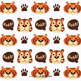 Tiger faces and speech bubbles pattern
