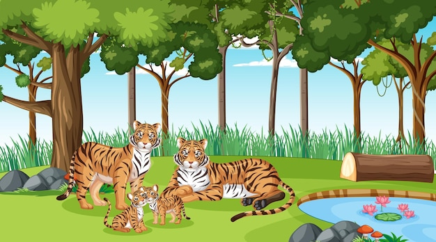 Tiger family in forest or rainforest scene with many trees