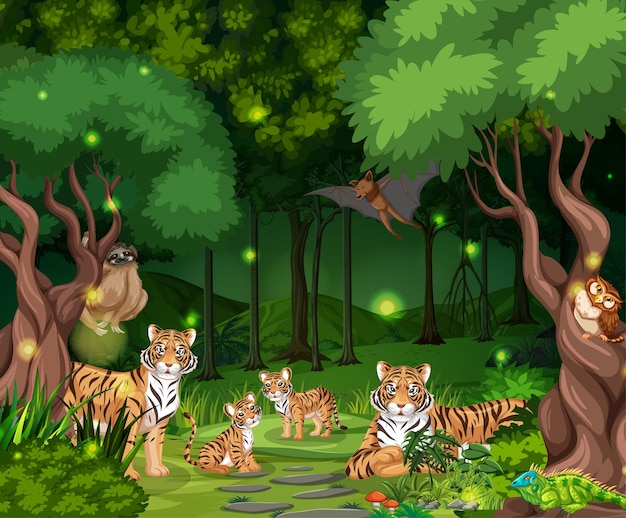 숲 풍경 배경에서 호랑이 가족