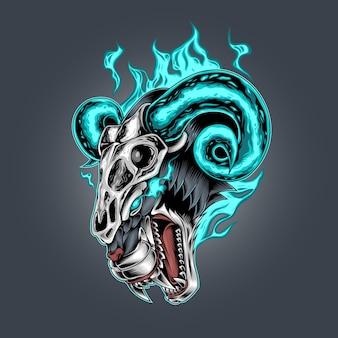 Клык тигра и череп козла огонь