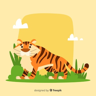 Tiger in the field background