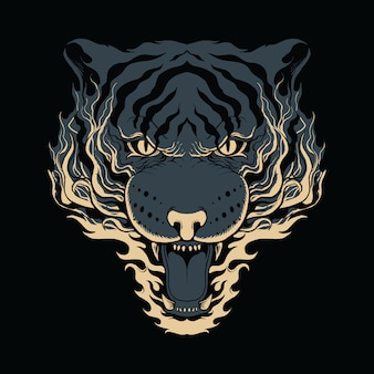 Tiger fire illustration bitmap art
