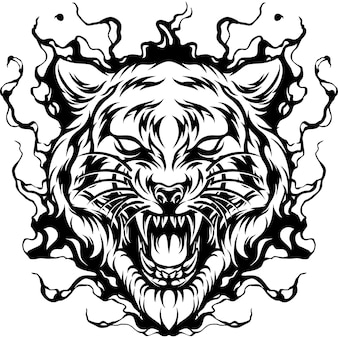 Tiger on fire silhouette