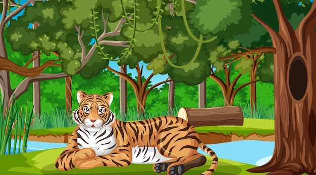 A tiger in forest or rainforest scene with many trees
