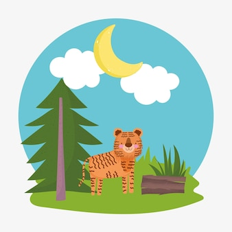 Tiger forest tree cartoon