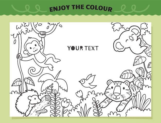 Tiger and friends in the jungle coloring for kids