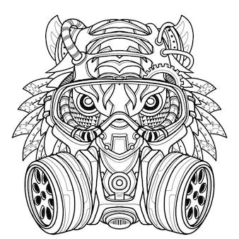 Tiger in gas mask illustration. toxicity emblem