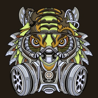 Tiger in gas mask illustration.