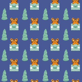 Tiger in gift box seamless pattern cool baby repeatable print christmas vector illustration