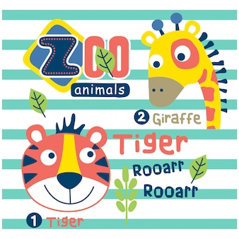 Tiger and giraffe in the zoo funny animal cartoon,vector illustration