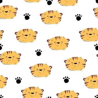 Tiger hand drawn patern in cute cartoon style for kids design