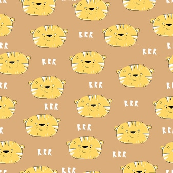 Tiger hand drawn pattern in cute cartoon style for kids design
