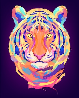 The tiger head on black background retro illustration ideal for a mascot and tattoo or tshirt illustration