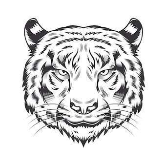 白い背景の上の虎の頭のデザイン。タイガーヘッドラインアートのロゴ。ベクトルイラスト。