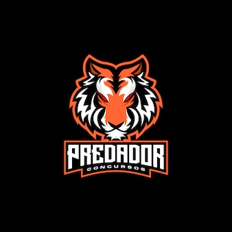 Tiger head e sports logo