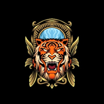 Tiger head emblem illustration