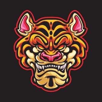 Иллюстрация логотипа киберспорта головы тигра