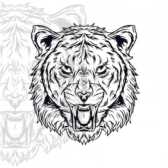 Tiger head furious vector illustration