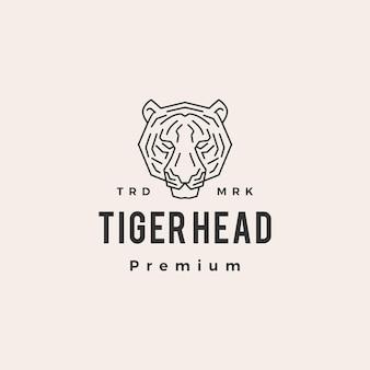 Винтажный логотип битник голова тигра
