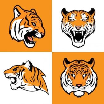 Tiger head illustration set