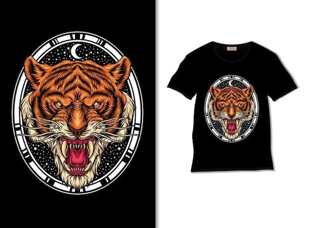 Tiger head illustration with t shirt design