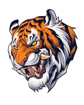 Tiger head in japanese style depiction