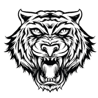 Tiger head line art black and white illustration