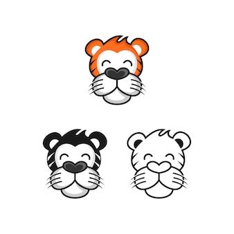 Tiger head logo design illustration