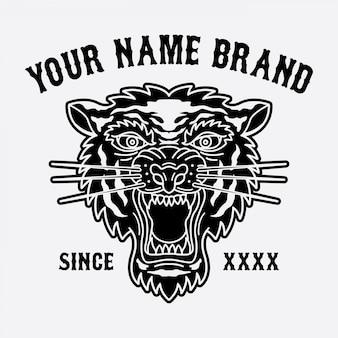 Логотип тигровой головы для одежды