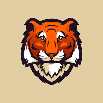 스포츠 클럽 또는 팀을위한 호랑이 머리 로고.