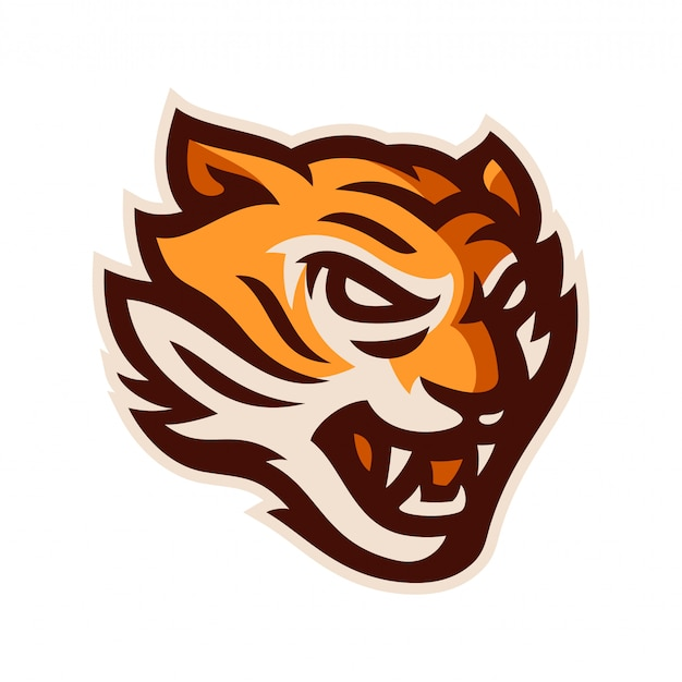 Tiger head logo mascot template vector illustration