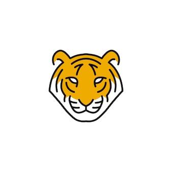Tiger head logo vector icon illustration line outline