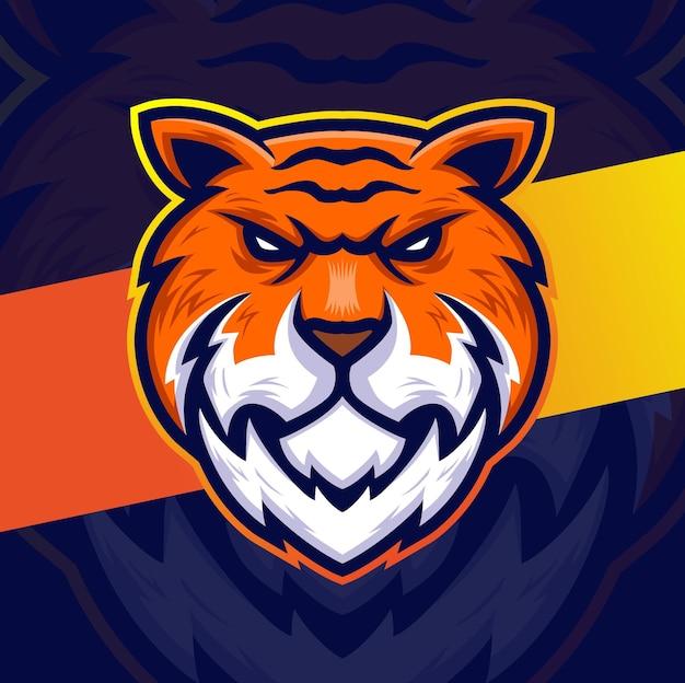 ゲームスポーツと動物のロゴデザインのためのタイガーヘッドマスコットeスポーツキャラクターデザイン