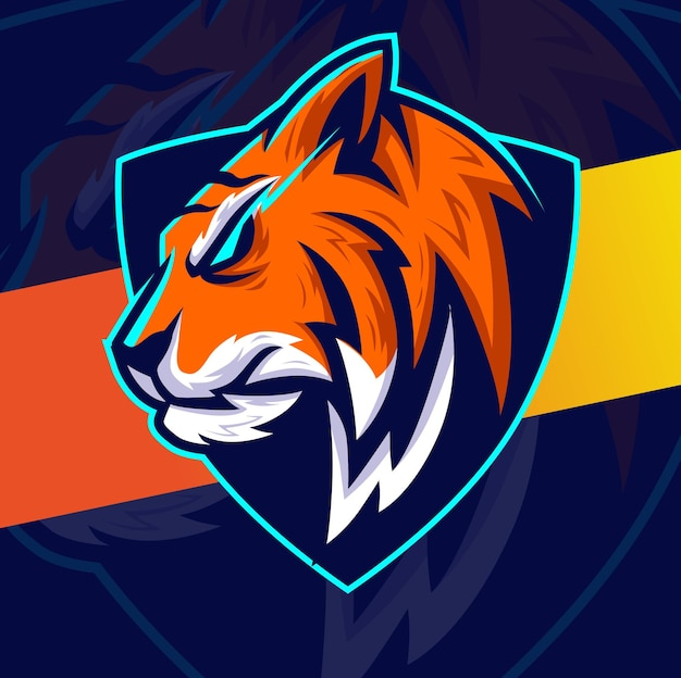 Tiger head mascot esport character design for game sport and animal logo design