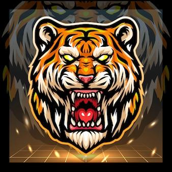 Tiger head mascot esport logo design