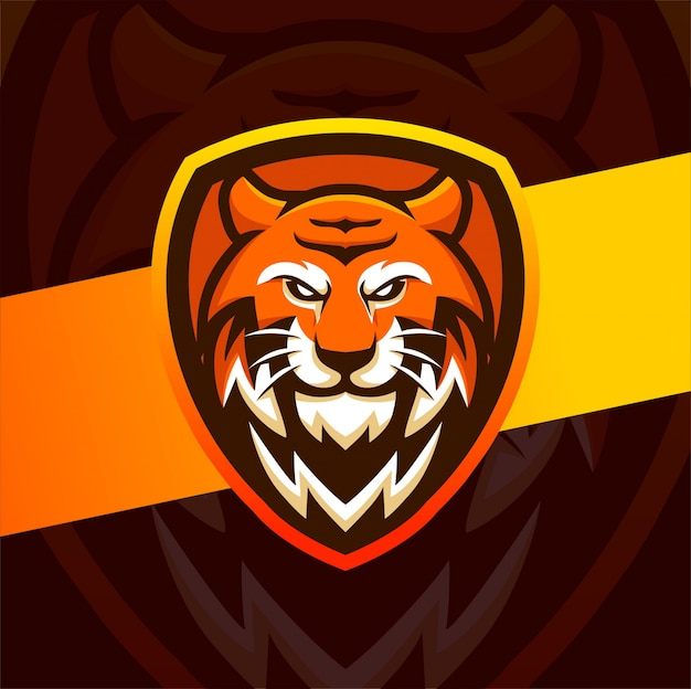 Tiger head mascot esport logo design