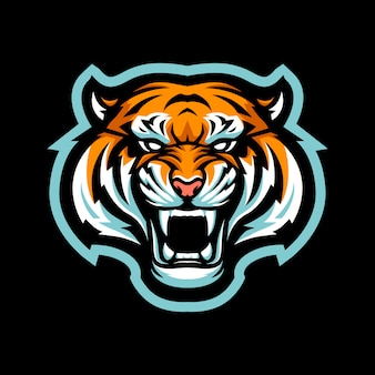 Tiger head mascot illustration for sports and esports logo isolated on black background