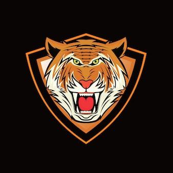 タイガーヘッドマスコットロゴデザインベクトル