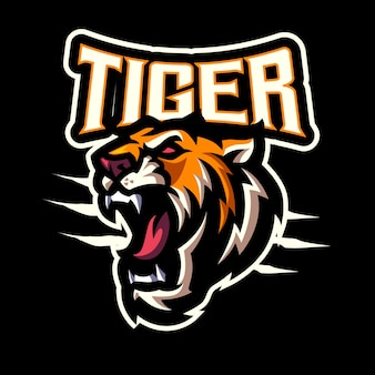 Tiger head mascot logo for esports and sports team