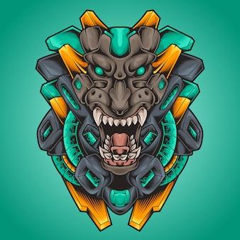 호랑이 머리 괴물 로봇 사이버 펑크 그림