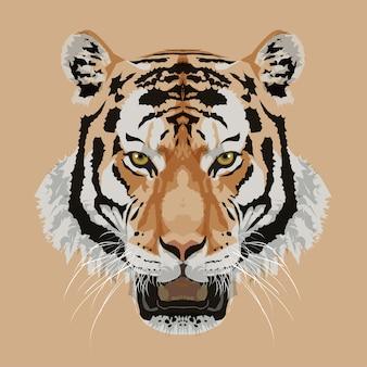虎の頭、茶色の背景