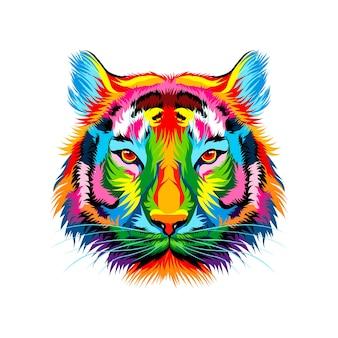 色とりどりの絵の具から虎の頭の肖像画水彩画のスプラッシュリアルな描画