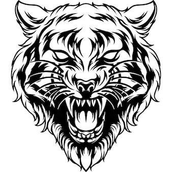 Силуэт головы тигра